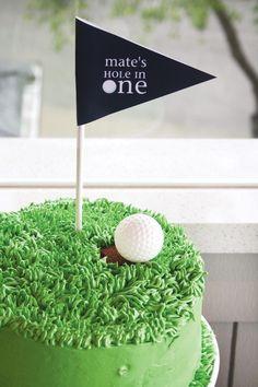 """Geschenk Geburt - """"A Hole in One"""" Par-tee {Golf First Birthday} // Hostess with the . Golf First Birthday, Golf Birthday Cakes, Golf Cakes, Birthday Ideas, Golf Themed Cakes, Birthday Diy, Cupcakes, Cupcake Cakes, Green Cake"""