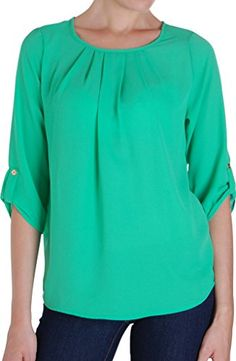 Humble Chic Womens Button Tab Blouse  Aquamarine LG Long Sleeve Chiffon Pleated Dress Shirt Top A *** To view further for this item, visit the image link.