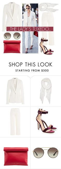 """""""The Lady's Tux...."""" by nfabjoy ❤ liked on Polyvore featuring Maison Margiela, Calvin Klein, Vince, Gianvito Rossi, CÉLINE, Prada, white and suit"""