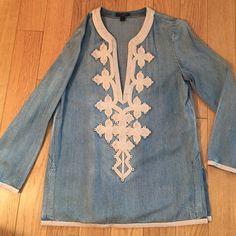 Jcrew Denim Shirt Gorgeous & comfortable denim Jcrew embroidered long sleeve tunic. Worn lightly last summer. Perfect condition. J. Crew Tops Tunics