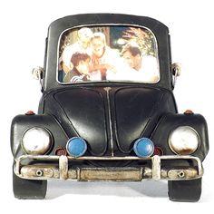Porta-Retrato Frente de Fusca Preto Oldway em Metal - 21x21 cm | Carro de Mola - Decorar faz bem. Master Chief, Lifestyle, Character, Cars, Portraits, Lettering