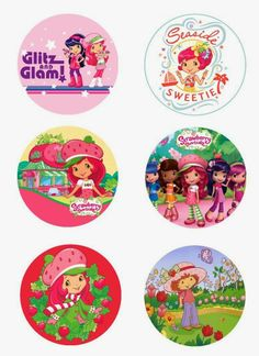 "Strawberry Shortcake free 1"" inch digital bottle cap images"