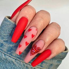 Installation of acrylic or gel nails - My Nails Valentine's Day Nail Designs, Cute Acrylic Nail Designs, Nails Design, Salon Design, Acrylic Nails With Design, Heart Nail Designs, Pretty Nail Designs, Red Acrylic Nails, Bling Nails