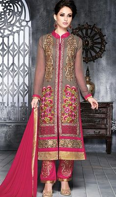 Appear ethnic in this kind of a affluent gray embroidered georgette salwar suit. The ethnic butta, floral patch, lace and resham work at the attire adds a sign of magnificence statement with your look. #FusiaPinkAndGrayStraightCutSuit
