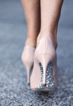 a girl always needs a little sparkle - nude shoes with silver sparkle soles