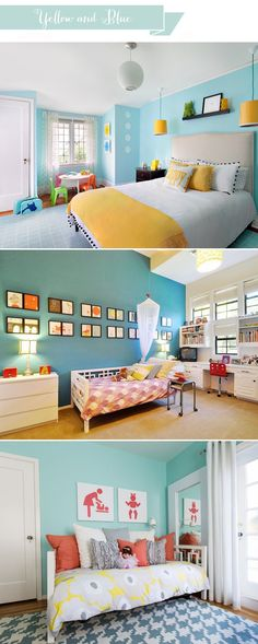 Fun bright colours in unisex kids bedroom (IKEA rug and bedding - unisex bedroom ideas