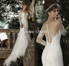 Inform Newly Design 2015 Sheer Scoop Neck with Lace Long Sleeves Organza Tulle Mermaid Wedding Dress See Through Back Long