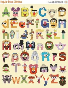 ON SALE Cross stitch pattern, easy pattern - 272 x 339 stitches - muppet alphabet characters - counted cross stitch - M557