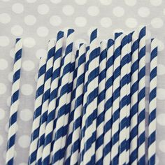 Striped Paper Straws: Denim $4 for 20 straws.  Also available in navy blue and red.  Use for hot cider in paper starbucks cups with a custom sleeve, or with ribbon-wrapped glass jars.