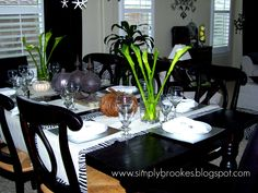 table set 2007.  zebra, burlap, pumpkins and lillies