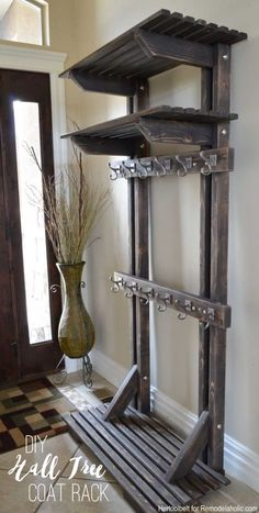 DIY Hall Tree Coat Rack (inspired by Pottery Barn) – Remodelaholic---want this but with a bench at the bottom.