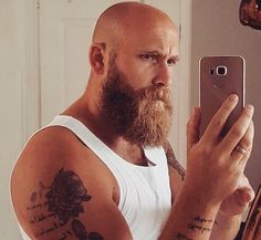Looking to combine bald with beard styles? More and more men are trying one style or another. This gives you a lot of bald with beard styles to choose from. Bald Men With Beards, Bald With Beard, Red Beard, Great Beards, Long Beards, Beard Love, Awesome Beards, Long Beard Styles, Hair And Beard Styles