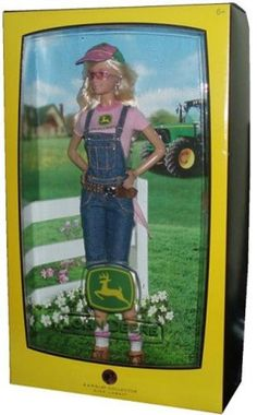 Barbie Collector Pink Label John Deere Edition 12 Inch Doll – Barbie with Short Overalls, T-Shirt, Handkerchief, Belt, Cap, Boots, Sunglasses, Doll Stand and Certificate of Authenticity  #barbiecollector