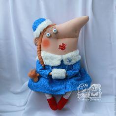 Купить Я снегурочку слепила.... - голубой, снегурочка, Новый Год, новый год 2017, текстильная кукла