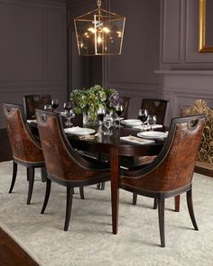 Old Hickory Tannery Cinda Leather Dining Chair & Allerton Dining Table