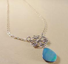 Opal necklace sister gift Australian opal by GLITTERBOXJEWELRY