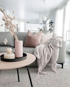 How To Decorate A Grey and Blush Pink Living Room Learn how to combine grey and pink for an amazing living room your guests will fall in love with! Get free tips and ideas for great home decor! - How To Decorate A Grey and Blush Pink Living Room Blush Pink Living Room, Living Room Grey, Living Room Modern, Home Living Room, Interior Design Living Room, Living Room Designs, Living Room Decor, Small Living, Pink Room