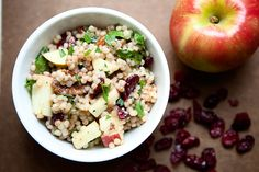 Couscous with the apples, cranberries, rosemary, and thyme