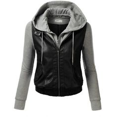 J.TOMSON Womens Mixed Fabric Faux Leather PU Zip-Up Hooded Bomber Moto... ($20) ❤ liked on Polyvore featuring outerwear, jackets, tops, shirts, hooded moto jacket, motorcycle bomber jacket, hooded faux leather jacket, zip up jacket and hooded motorcycle jacket