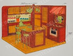Rare!! ORIGINAL 1977 SUNSHINE FAMILY DOLL HOUSE KITCHEN SET CONCEPT ART! Vintage