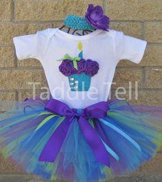 OCEAN BREEZE Birthday Girl Set 3D Cupcake por taddletellshop