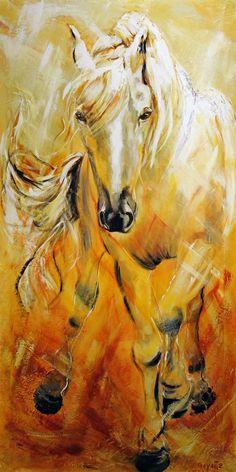 Cette toile de Diane Goyette représente un cheval qui nous donne l'impression de courir dans les champs. Malgré la beauté de ce cheval je remarque un défaut: il est impossible que la patte arrière gauche soit dans cette position. L'artiste sait jouer avec les ombres et les lumières. Le reflet de lumière dans sa crinière est très intéressant. Le fait que les couleurs ne sont pas réelles enlève rien à la beauté et au réalisme de cette œuvre.