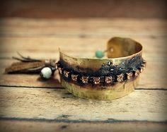 Rustic Brass Cuff Bracelet with teal green rhinestones, leather tassel boho bracelet, Oxidized Jewelry, Gypsy, Recycled Mixed Metal Jewelry