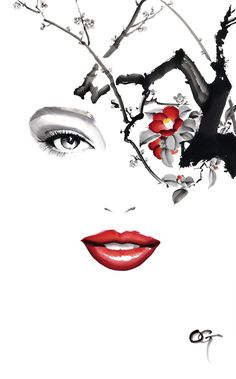 YUWA #OHGUSHI #Fashion_illustration #portrait_painting #watercolor #japanese_ink #Bijinga #水墨画 #美人画
