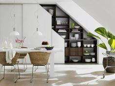 Under Stairs Office Space . Under Stairs Office Space . 10 Under Stair Storage Ideas that Make Your House Look Shelves Under Stairs, Space Under Stairs, Stair Shelves, Staircase Storage, Stair Storage, Wall Storage, Open Shelves, Shelving Units, Cabinet Storage