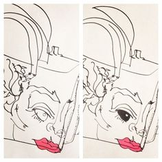 belle BRUT: Drawing again… The process of drawing my new #Prada bag!!! © belle BRUT 2014