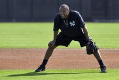 New York Yankees shortstop Derek Jeter waits to take some grounders during an informal workout at the team's minor league complex in Tampa, Florida, February Yankees Fan, New York Yankees, Yankees Spring Training, Derek Jeter, My Boys, Workout, Tampa Florida, People