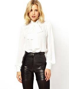 ASOS Blouse with Pussybow Neck and Gathered Front