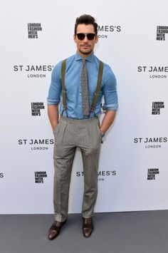 <p>The A-lister rocked braces and sunnies for the outdoor fashion show on day two of London Fashion Week Men's. <br /><em>[Photo: Getty]</em> </p>