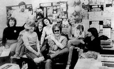 The Record newsroom staff in late 1982 or early 1983. From left: Rae Riebe (editor), Rick Chase (photographer), Marilee Brown (proofreader), Ann Heise Kult  (writer), Shirley Liger Cowell (newsroom assistant), Dan McCool (sports editor), Anne Phillips (writer), Jane Zajec (writer).
