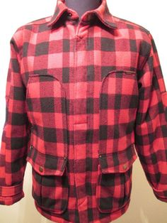 TIMBERLAND JACKET Men Size XL Red Plaid Flannel Wool Lumberjack Hunting Buffalo #Timberland #BasicCoat