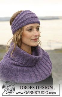 """DROPS neck warmer and ear warmer with cables in 2 threads """"Alpaca"""". ~ DROPS Design"""