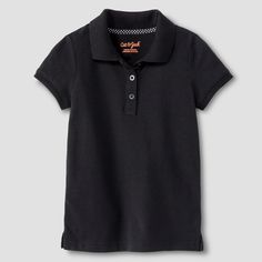 Toddler Girls' Pique Polo Shirt Cat & Jack - Black 5T, Toddler Girl's