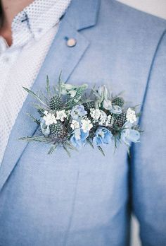 Fresh Flowers Pocket Square Boutonniere