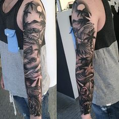 Black Shaded Beach And Palm Trees Tattoo On Full Arms For Men