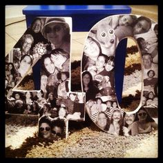 Overlapping black & white photo collage. Custom made with your pictures. Collage created on hand-carved numbers...any size available! on Etsy.