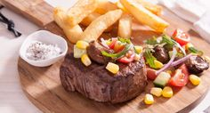 Fire up the BBQ and add this yummy Steak topped with Oyster Salsa to the menu tonight! Easy Recipes, Dinner Recipes, Easy Meals, Smoked Oysters, Summer Bbq, Cherry Tomatoes, Salsa, Fries, Steak