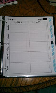 Simple lesson plan organizer