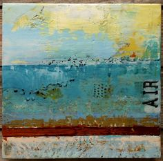 Air . Encaustic painting on woodpanel 9.8 x 9.8 x 1.4 inches