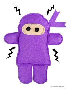 "#FreeSewingPattern - give seizures the chop with this free Ninja pattern by Indie Designer Vickie Howell for the Purple Stitch Project! Click the image for the free instant download and click ""Repin"" to spread the word about the Purple Stitch Project and help kids with seizure disorders! #sewing #pattern #PurpleStitchProject"