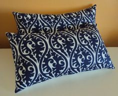 2 Navy Blue and White Damask Print Scroll Fabric Lumbar by idari, $20.00