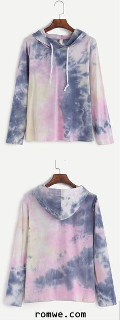 Tie Dye Drawstring Hooded T-shirt