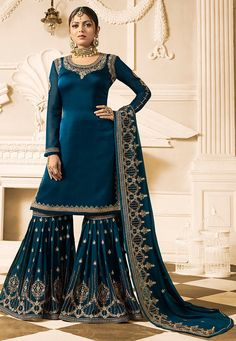 Sharara suit - Semistitched Satin Georgette Pakistani Suit in Teal Blue This Round Neck and Full Sleeve attire with Poly Shantoon Lining is Prettified with Resham, Zari, Stone and Patch Border Work Available with a Pakistani Suits, Pakistani Dresses, Indian Dresses, Indian Outfits, Punjabi Suits, Bollywood Dress, Bollywood Fashion, Bollywood Style, Party Wear Sarees