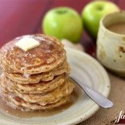 apple oatmeal pancakes with caramel buttermilk syrup - from a farmgirl's dabbles
