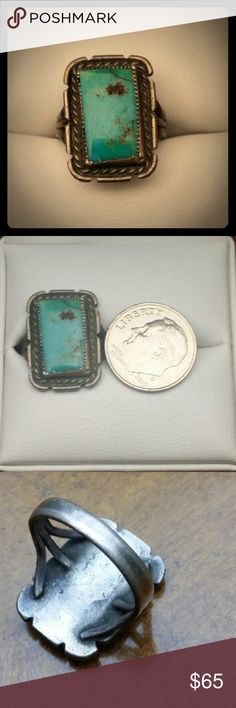 Native American Old Pawn Turquoise Sterling Ring Vintage Native American Old Pawn Turquoise Sterling Silver Ring, size 6.5 Vintage Jewelry Rings