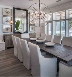 Exciting Modern Farmhouse Dining Room Decor Ideas – Home Decor Ideas Farmhouse Dining Room Table, Dining Room Wall Decor, Dining Room Design, Dining Room Furniture, Dining Chairs, Large Dining Room Table, Rustic Dining Rooms, Mirrors In Dining Room, Dining Room Ideas On A Budget